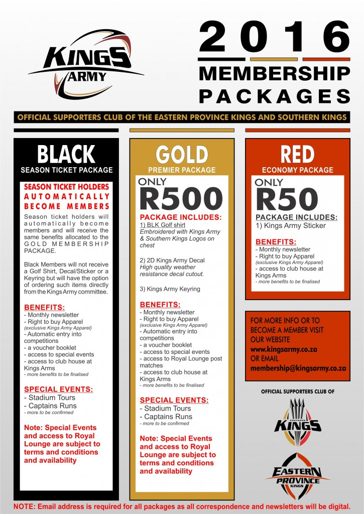 2016 MEMBERSHIP PACKAGES